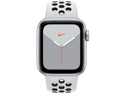 Chytré hodinky Apple Watch Nike Series 5 GPS 40mm pouzdro ze stříbrného hliníku - platinový/černý sportovní řemínek Nike