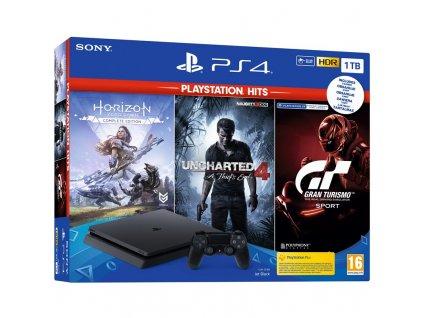 Herní konzole Sony PlayStation 4 1 TB + Gran Turismo Sport + Uncharted 4 + Horizon Zero Dawn