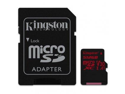 Paměťová karta Kingston Canvas React MicroSDXC 512GB UHS-I U3 (100R/80W) + adapter
