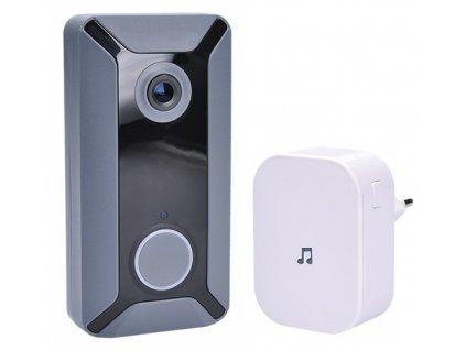 Zvonek bezdrátový Solight 1L200, Wi-Fi s kamerou - šedý/bílý
