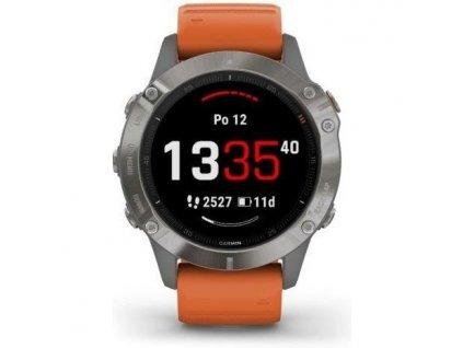 GPS hodinky Garmin fenix6 PRO Sapphire (MAP/Music) - oranžové/titanium