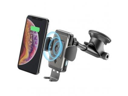 Držák na mobil CellularLine Pilot Instant, bezdrátové nabíjení - černý