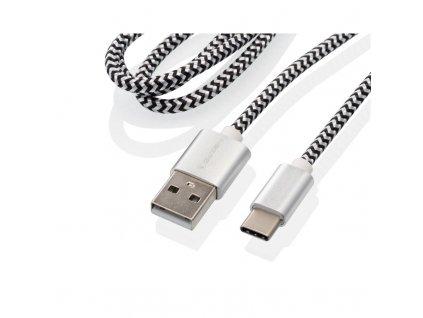 Kabel GoGEN USB / USB-C, 1m, opletený, stříbrný, zkumavka