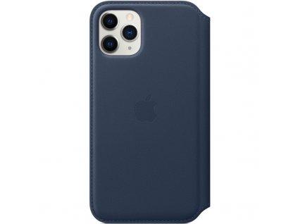Pouzdro na mobil flipové Apple Leather Folio pro iPhone 11 Pro - hlubinně modré