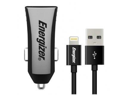 Adaptér do auta Energizer 2x USB 3,4A s Ligthning kabelem 1m, MFI - černý