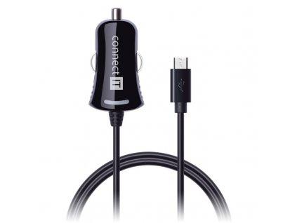 Adaptér do auta Connect IT InCarz, Micro USB, 2,1A, 1,5 m - černý