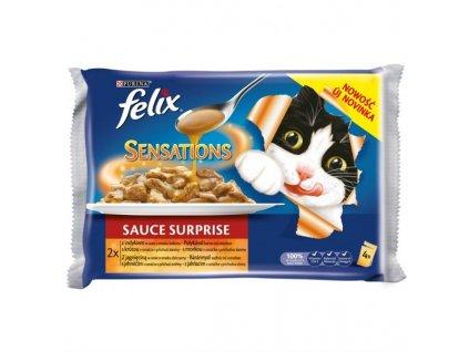 Kapsička Felix Sensations Sauce Surprise s krůtou ve slaninové omáčce a jehněčí se zvěřinou (4x100g)