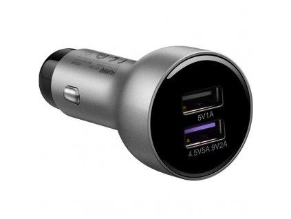 Adaptér do auta Huawei SuperCharge CP36, 2x USB, QC 3.0, 22,5 W - stříbrný