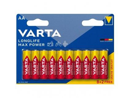 Baterie alkalická Varta Longlife Max Power AA, LR06, blistr 8+2ks