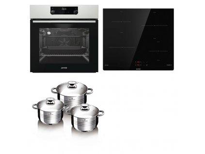Set vestavný Gorenje trouba BS737EX + varná deska indukce IT40SC + sada nádobí