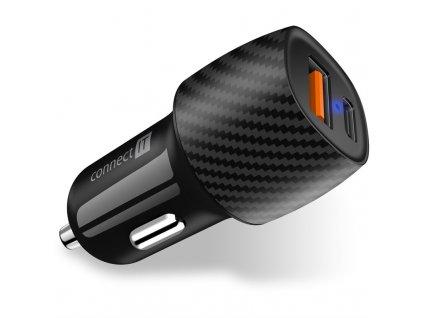 Adaptér do auta Connect IT InCarz QC 3.0, USB, USB-C PD - carbon