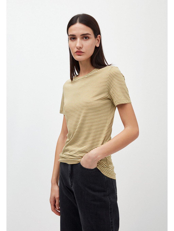 """Dámské pruhované tričko z biobavlny """"Lidaa Ring Stripes Khaki/Pistacio"""""""