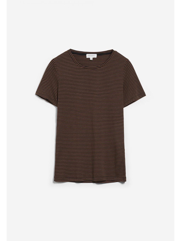 "Dámské pruhované tričko ""LIDIAA ring stripes black/cacao"""