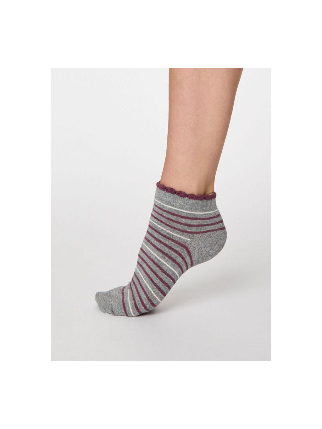spw458 grey marle lorraine stripey bamboo ankle socks 1
