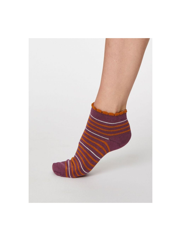 spw458 tulip purple lorraine stripey bamboo ankle socks 1