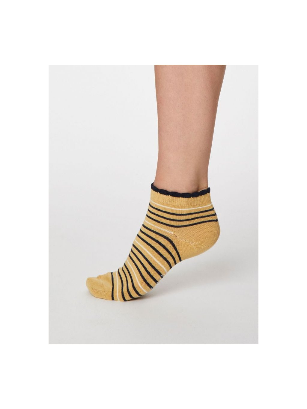 spw458 buttercup yellow lorraine stripey bamboo ankle socks 1