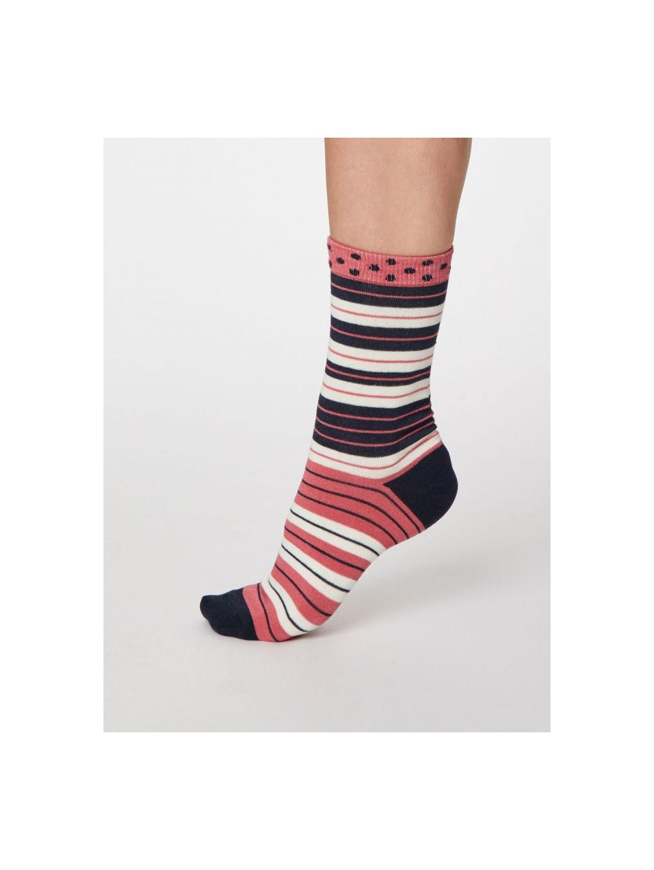 spw460 navy marle addie bamboo striped socks 1