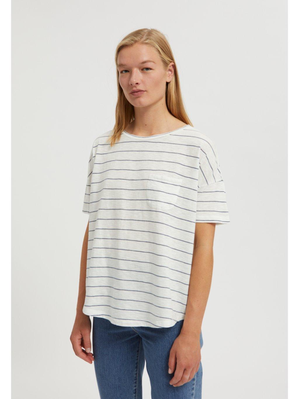 "Dámské proužkaté tričko ""MELINAA STRIPES oatmilk/foggy blue"""