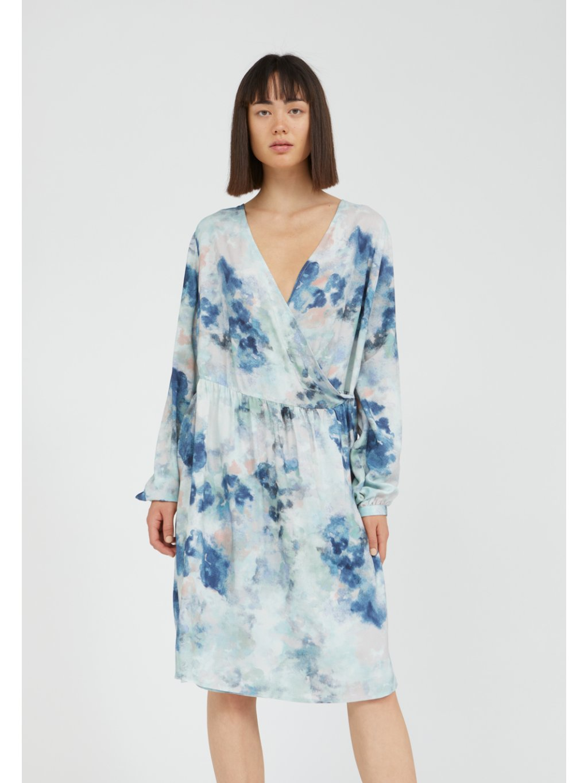 "Dámské šaty se vzorem ""ELVINAA WATERCOLORS foggy blue"""