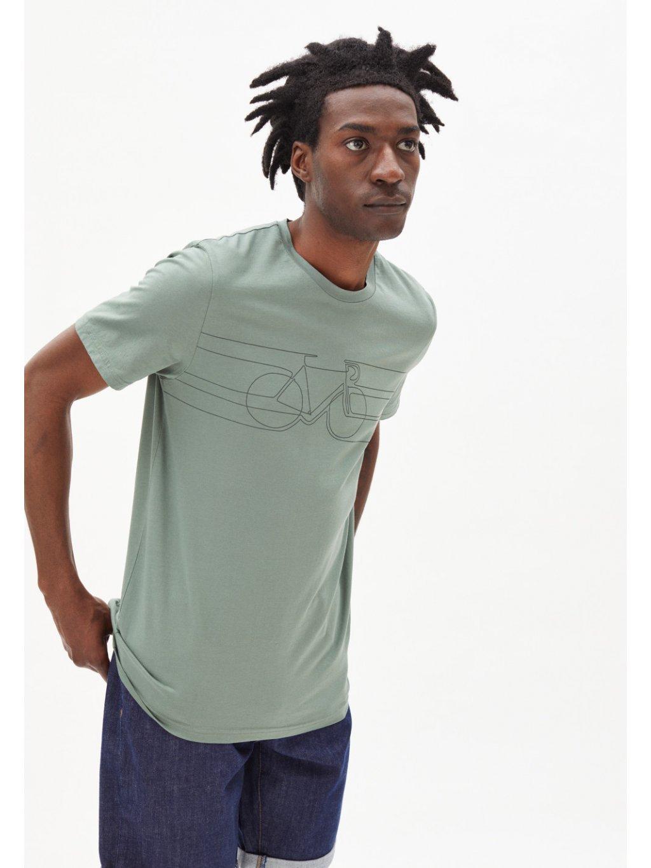 """Pánské zelené tričko """"JAAMES SMOOTH BIKE dusty agave"""""""