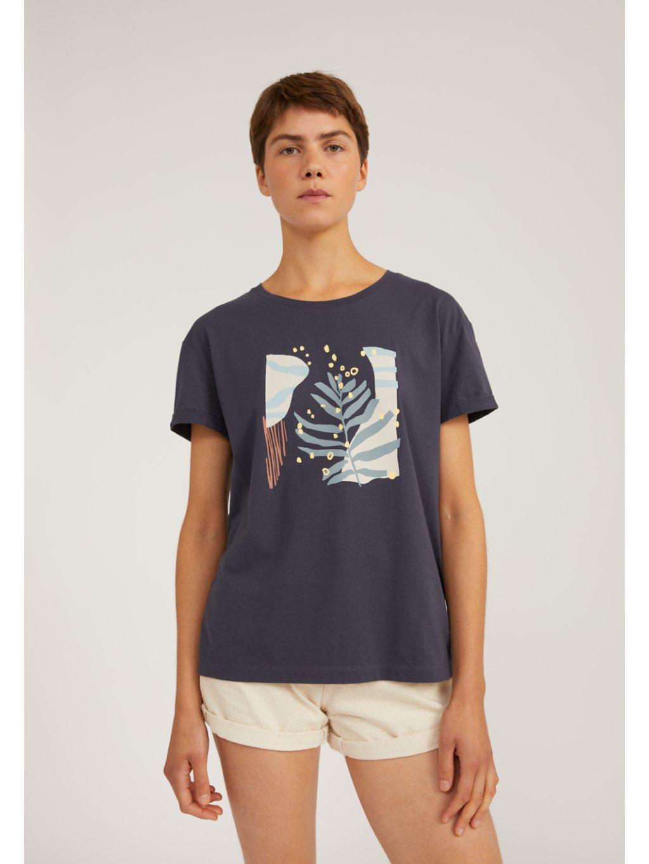 """Dámské šedé tričko s potiskem """"NELAA GRAFIC LEAF anthra"""""""
