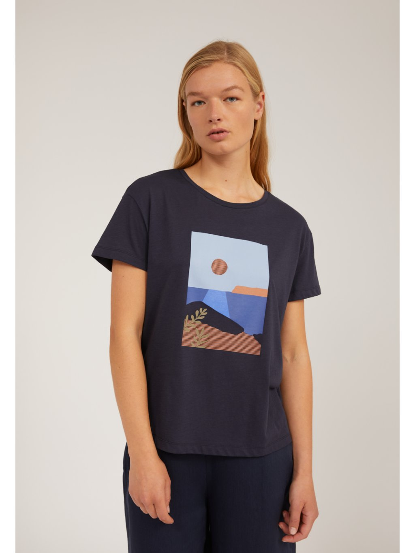 "Dámské tmavě modré tričko s potiskem ""NELAA CALM SEA night sky"""