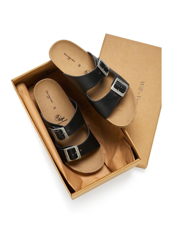 """Dámské černé sandály """"Two Strap Footbed Sandals"""""""
