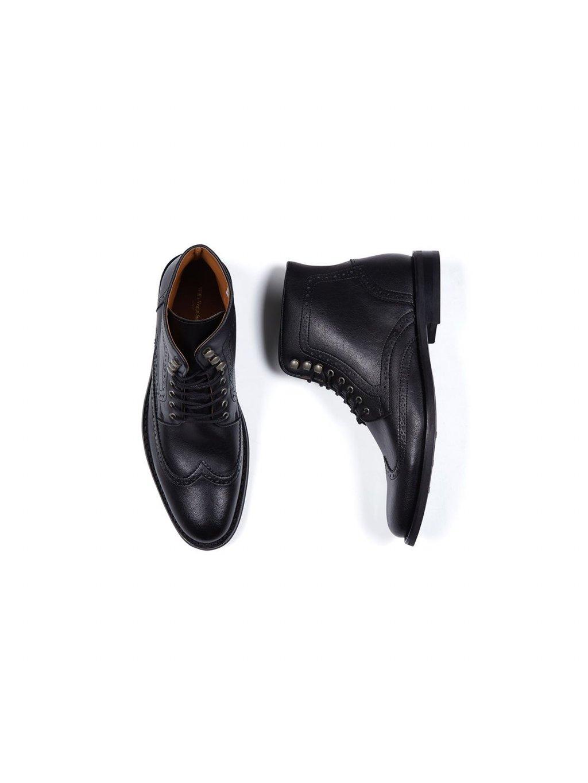 """db085a2a9432c Pánské černé kotníkové boty """"Brogue Boots Black"""" - EtikButik.cz"""