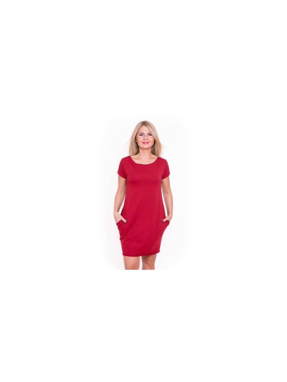 Dámské červené šaty AFRODITÉ s krátkým rukávem - EtikButik.cz 58c4a60a63