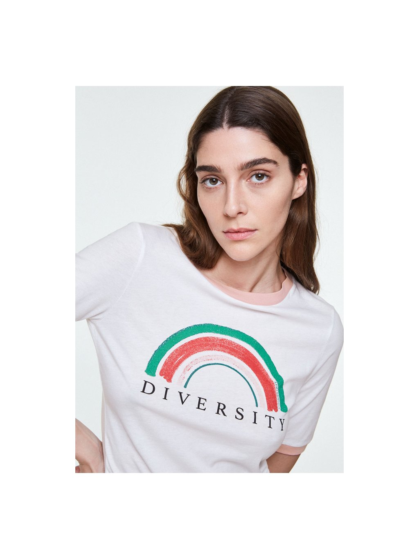 """Dámské bílé tričko z biobavlny """"EMMAA DIVERSITY"""""""