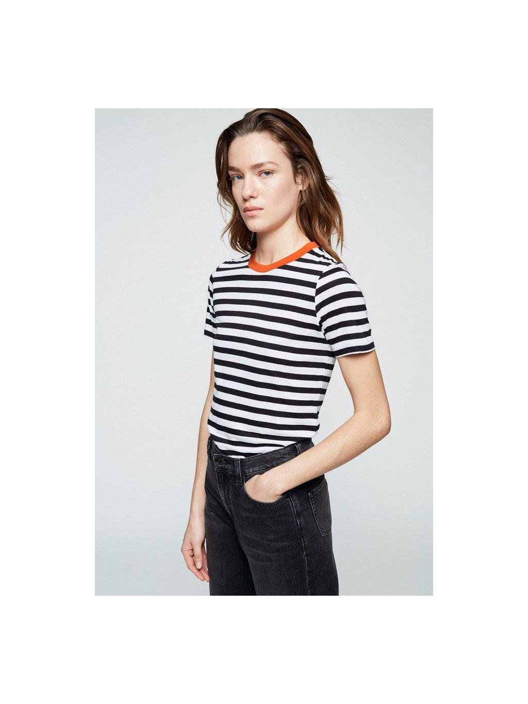 """Dámské pruhované tričko z biobavlny a eukalyptu """"Lidaa Bold Stripes Black White"""""""