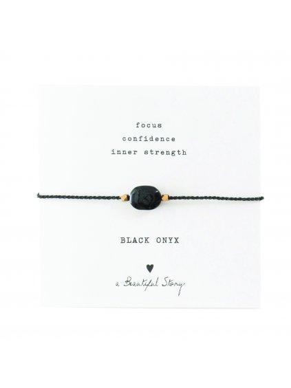 """Dámský náramek """"Gemstone Card Black Onyx Gold Bracelet"""""""