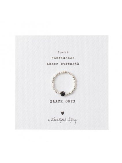 """Dámský prsten """"Sparkle Black Onyx Silver Ring"""""""
