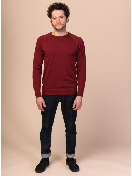 Men Knit Pullover burgundy 1