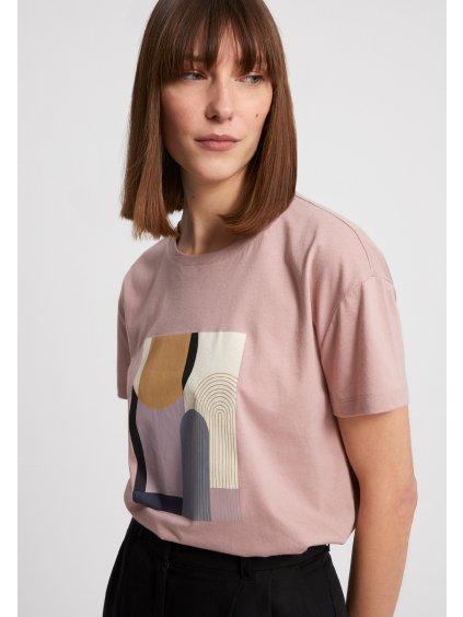 "Dámské béžové tričko ""NELAA GRAPHIC PATCHWORK kinoko"""