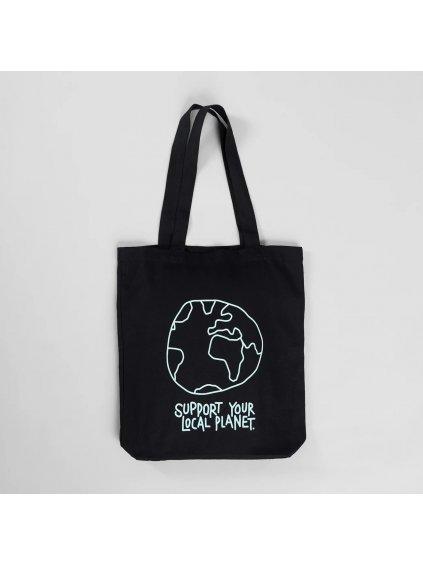 """Plátěná taška s potiskem """"Tote Bag Torekov Local Planet Black"""""""