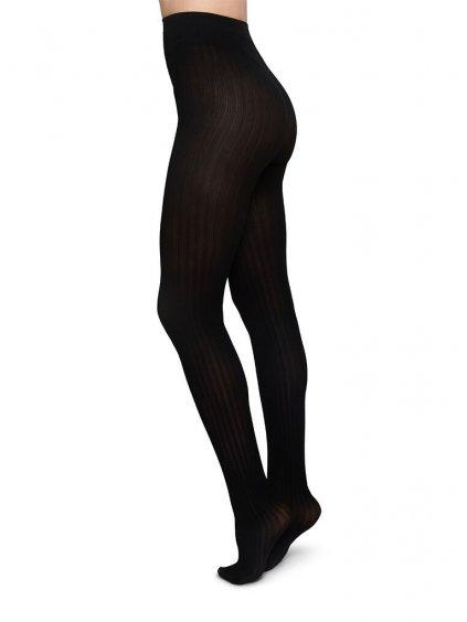alma rib tights black patterned stockings swedish stockings 230436 1000x
