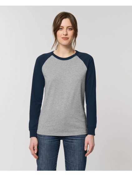 Catcher Long Sleeve Heather Grey French Navy Studio Front Main 5