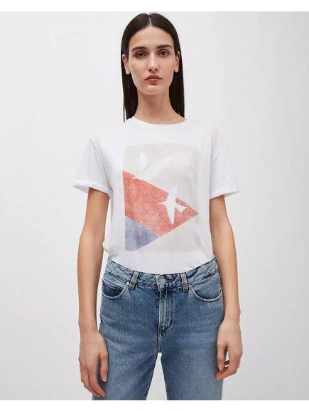 """Dámské bílé tričko z biobavlny """"NAALIN graphic doves"""""""