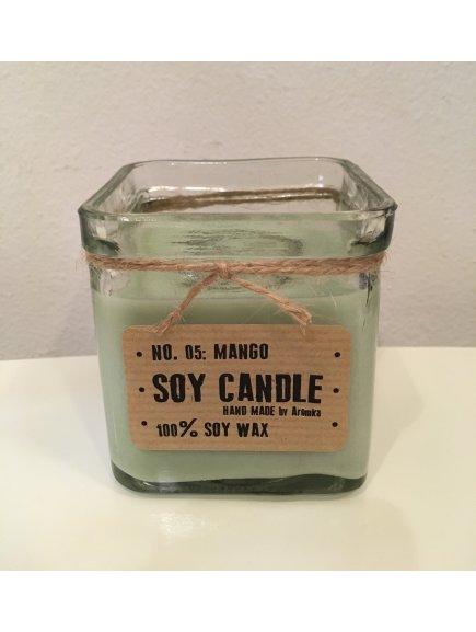 """Svíčka ze sojového vosku """"Mango"""" (kostka recyklované sklo 165g)"""