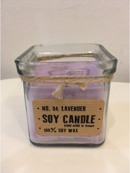 """Svíčka ze sojového vosku """"Levandule"""" (kostka recyklované sklo 165g)"""