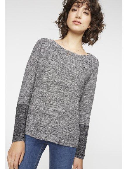"""Dámský melírovaný šedý svetr z biobavlny """"Kalea"""""""