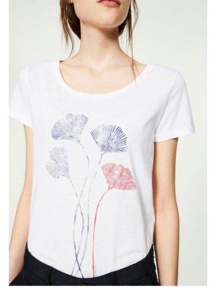 """Dámské bílé tričko """"Mari Ginkgo Leaves"""""""
