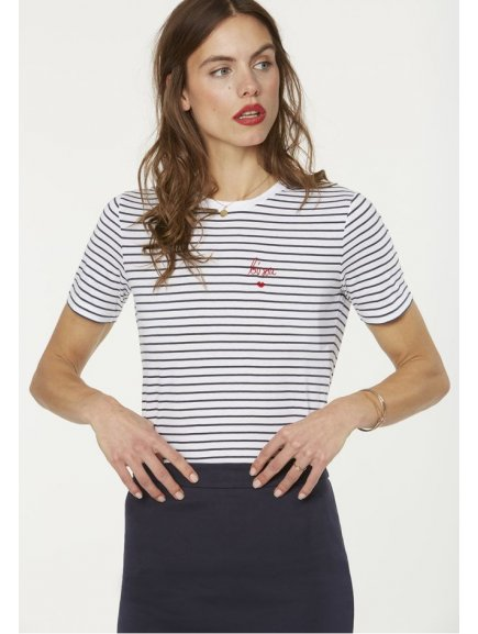 """Dámské modré tričko """"Lida Bisou On Stripes"""""""