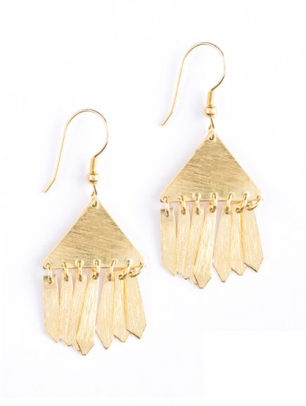earrings trianglefringe gold