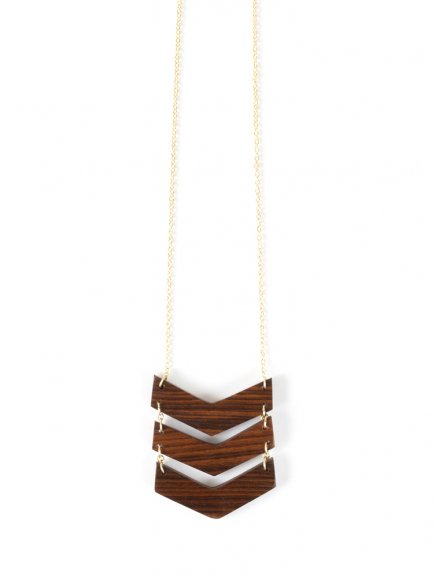 necklace chevron wood