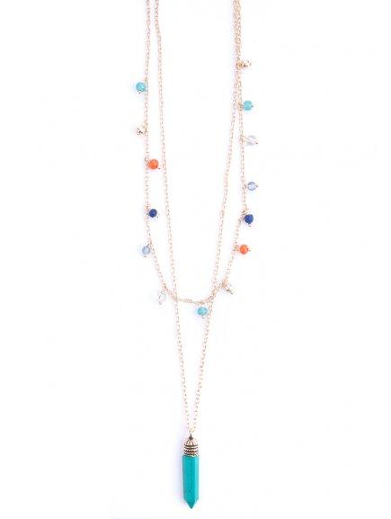 necklace layeredcharm turquoise