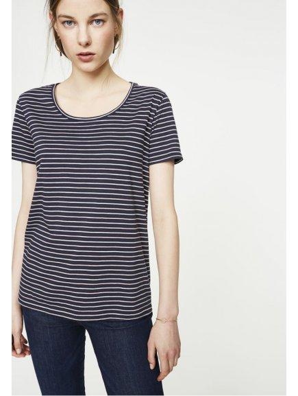 "Dámské proužkaté tričko ""Josi Twin Stripes Navy Blush - Off White"""