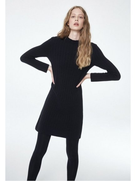 "Dámské černé šaty z biobavlny ""Keoni Grid"""
