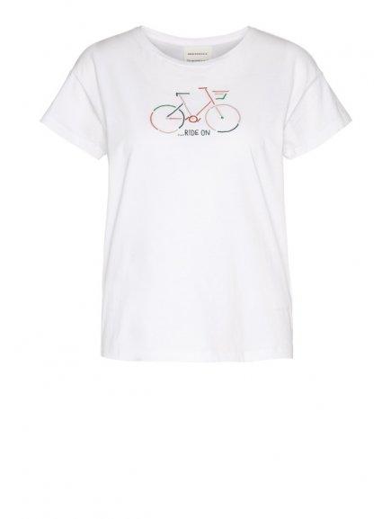 """Dámské bílé tričko """"NELAA BIKE"""""""